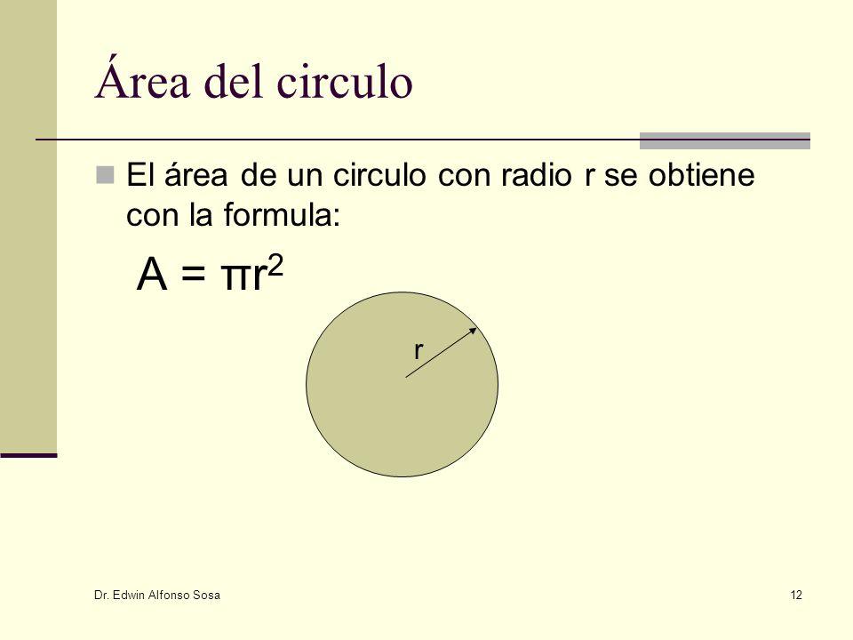 Dr. Edwin Alfonso Sosa 12 Área del circulo El área de un circulo con radio r se obtiene con la formula: A = πr 2 r