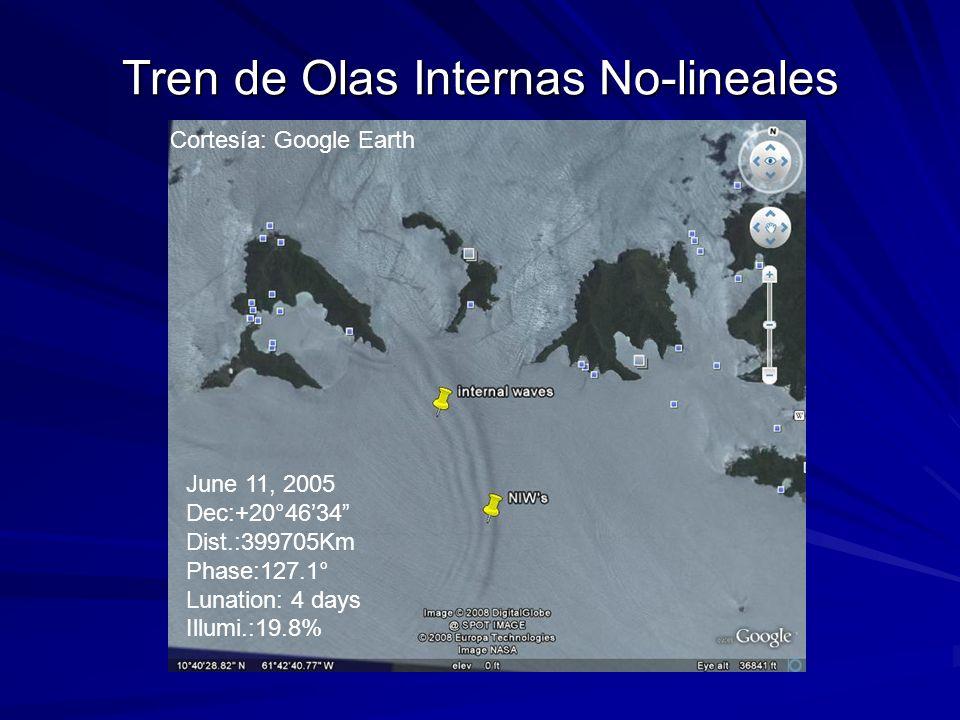 Tren de Olas Internas No-lineales Cortesía: Google Earth June 11, 2005 Dec:+20°4634 Dist.:399705Km Phase:127.1° Lunation: 4 days Illumi.:19.8%