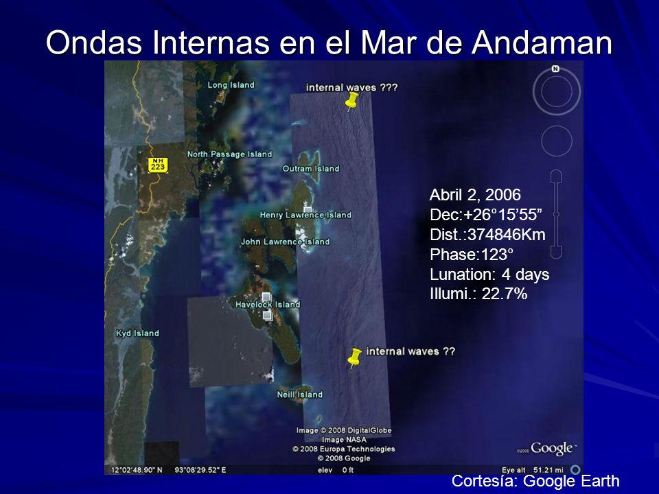 Ondas Internas en el Mar de Andaman Cortesía: Google Earth Abril 2, 2006 Dec:+26°1555 Dist.:374846Km Phase:123° Lunation: 4 days Illumi.: 22.7%