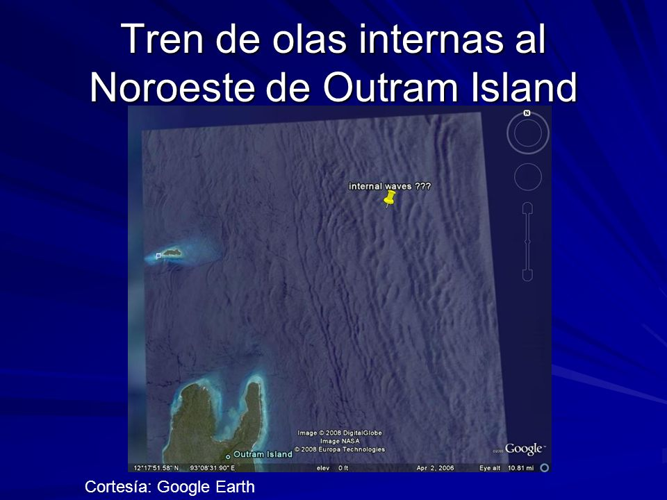 Tren de olas internas al Noroeste de Outram Island Cortesía: Google Earth