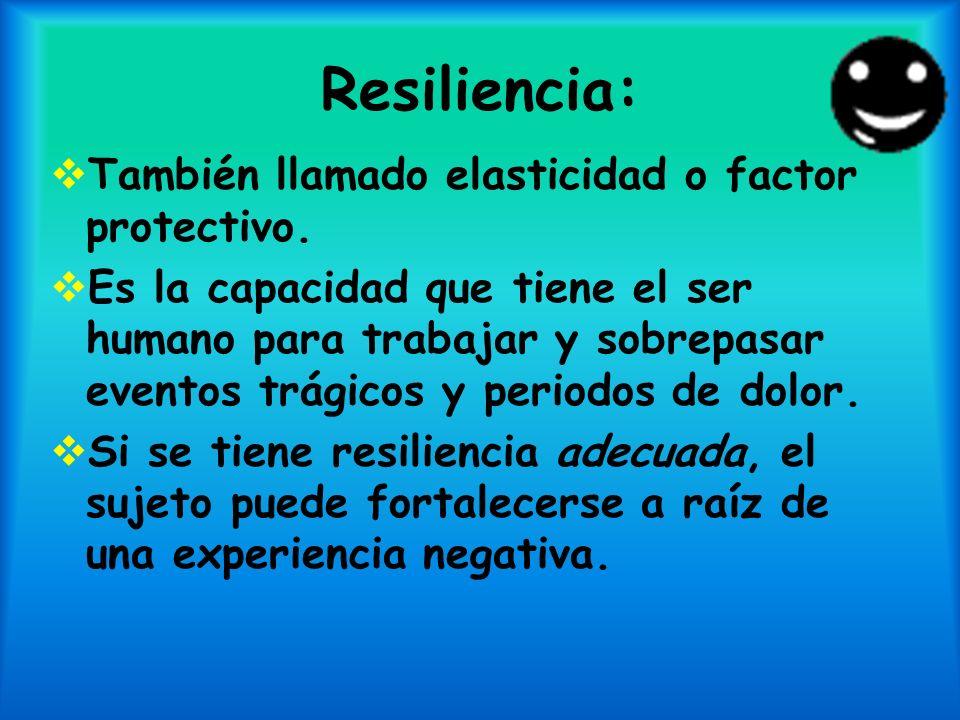 Resiliencia: También llamado elasticidad o factor protectivo. Es la capacidad que tiene el ser humano para trabajar y sobrepasar eventos trágicos y pe