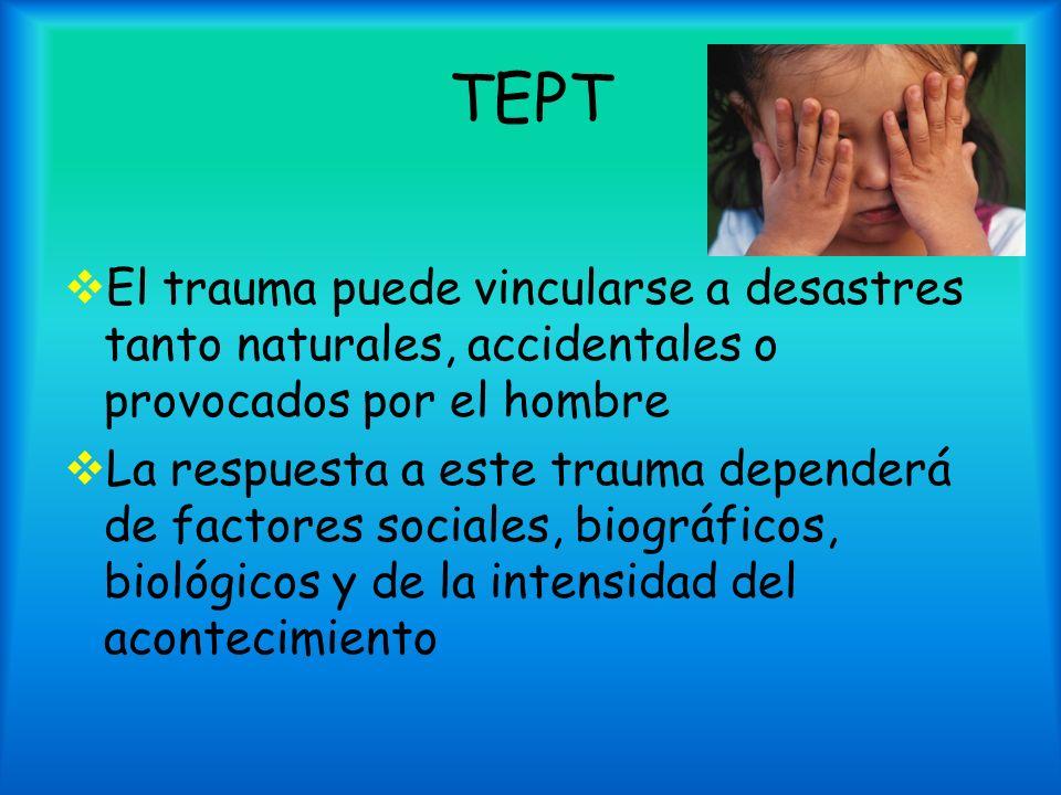 TEPT El trauma puede vincularse a desastres tanto naturales, accidentales o provocados por el hombre La respuesta a este trauma dependerá de factores
