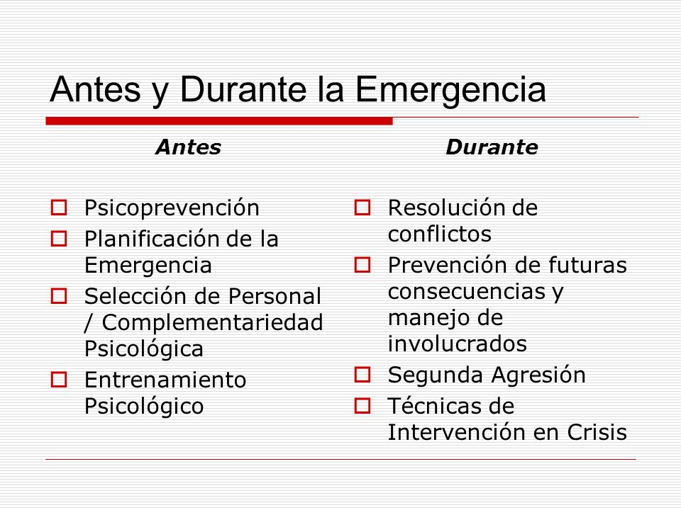 Antes y Durante la Emergencia Antes Psicoprevención Planificación de la Emergencia Selección de Personal / Complementariedad Psicológica Entrenamiento