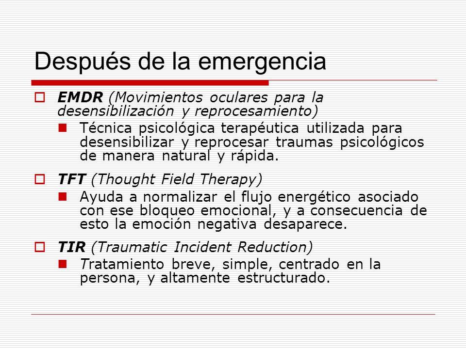 Después de la emergencia EMDR (Movimientos oculares para la desensibilización y reprocesamiento) Técnica psicológica terapéutica utilizada para desens