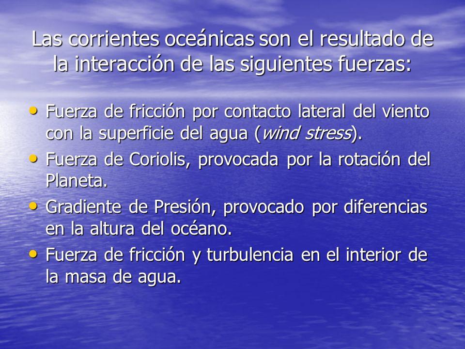 Las corrientes oceánicas son el resultado de la interacción de las siguientes fuerzas: Fuerza de fricción por contacto lateral del viento con la super