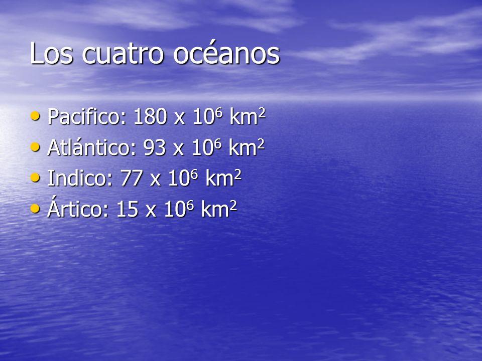 Los cuatro océanos Pacifico: 180 x 10 6 km 2 Pacifico: 180 x 10 6 km 2 Atlántico: 93 x 10 6 km 2 Atlántico: 93 x 10 6 km 2 Indico: 77 x 10 6 km 2 Indi