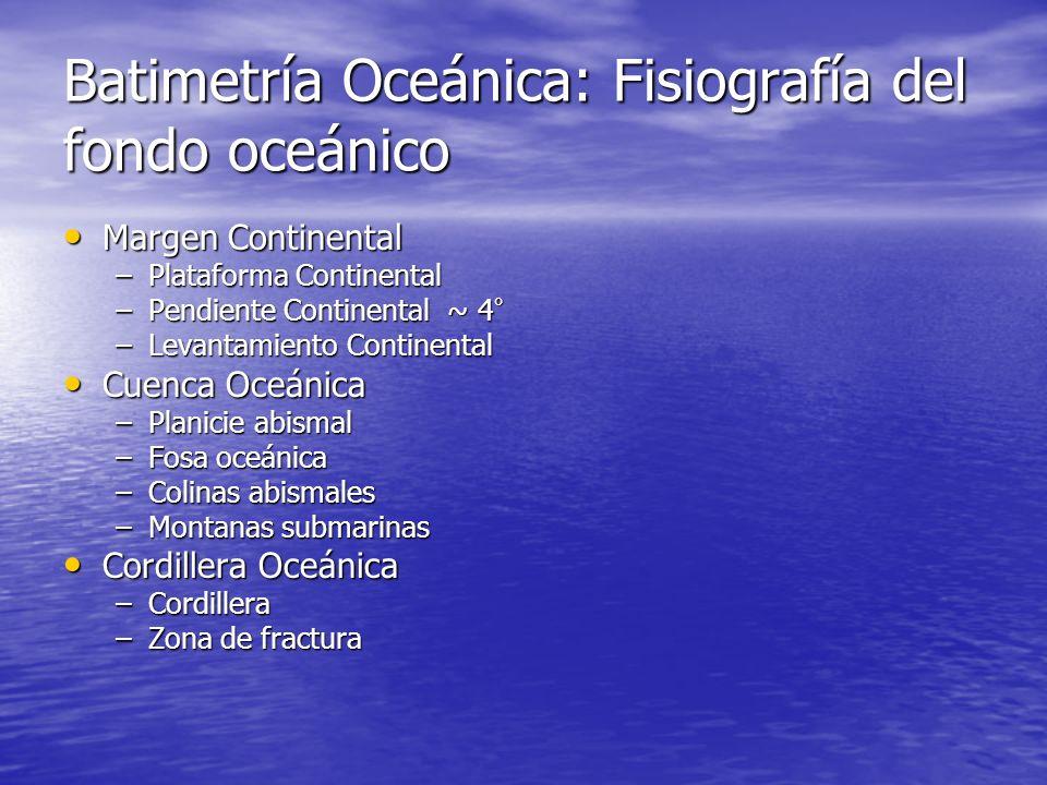 Batimetría Oceánica: Fisiografía del fondo oceánico Margen Continental Margen Continental –Plataforma Continental –Pendiente Continental ~ 4 ° –Levant