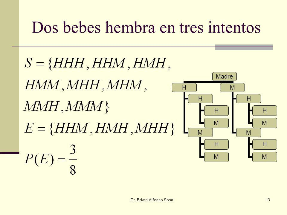 Dr. Edwin Alfonso Sosa13 Dos bebes hembra en tres intentos Madre H H H M M H M M H H M M H M