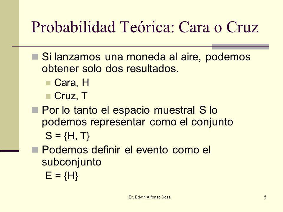 Dr. Edwin Alfonso Sosa5 Probabilidad Teórica: Cara o Cruz Si lanzamos una moneda al aire, podemos obtener solo dos resultados. Cara, H Cruz, T Por lo