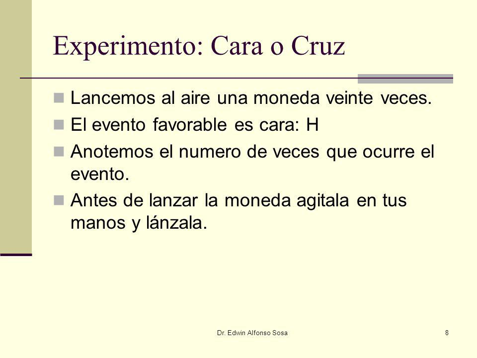 Dr. Edwin Alfonso Sosa8 Experimento: Cara o Cruz Lancemos al aire una moneda veinte veces. El evento favorable es cara: H Anotemos el numero de veces