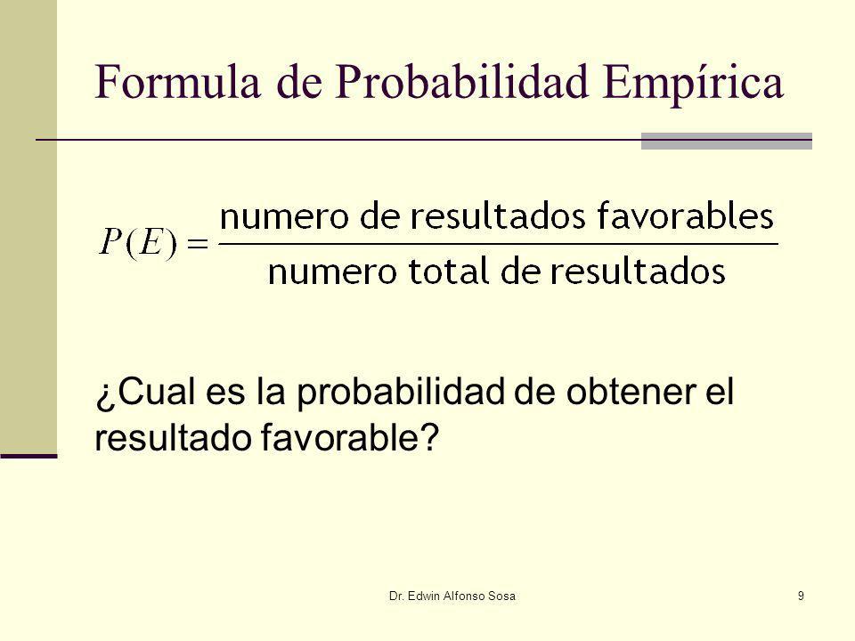 Dr. Edwin Alfonso Sosa9 Formula de Probabilidad Empírica ¿Cual es la probabilidad de obtener el resultado favorable?