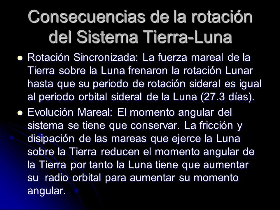 Consecuencias de la rotación del Sistema Tierra-Luna Rotación Sincronizada: La fuerza mareal de la Tierra sobre la Luna frenaron la rotación Lunar has