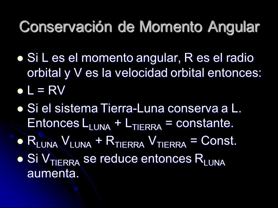 Conservación de Momento Angular Si L es el momento angular, R es el radio orbital y V es la velocidad orbital entonces: Si L es el momento angular, R