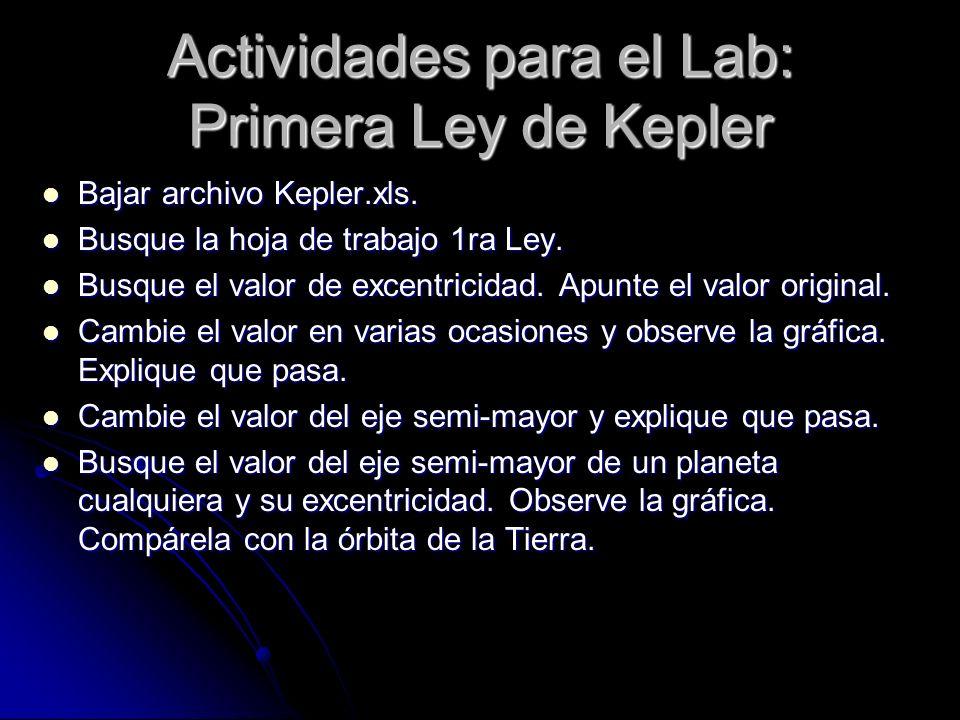 Actividades para el Lab: Primera Ley de Kepler Bajar archivo Kepler.xls. Bajar archivo Kepler.xls. Busque la hoja de trabajo 1ra Ley. Busque la hoja d