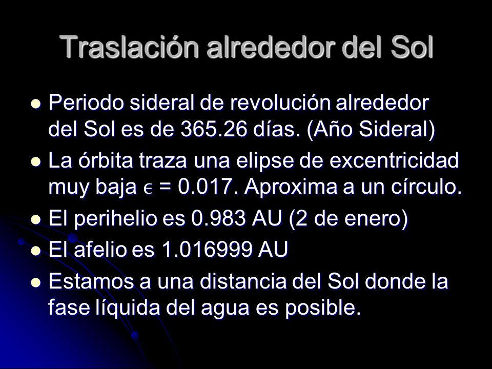 Traslación alrededor del Sol Periodo sideral de revolución alrededor del Sol es de 365.26 días. (Año Sideral) Periodo sideral de revolución alrededor