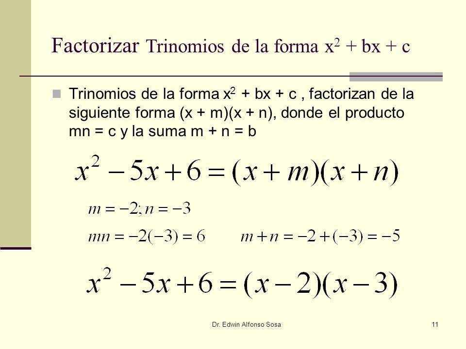 Dr. Edwin Alfonso Sosa11 Factorizar Trinomios de la forma x 2 + bx + c Trinomios de la forma x 2 + bx + c, factorizan de la siguiente forma (x + m)(x
