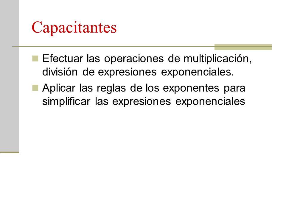 Capacitantes Efectuar las operaciones de multiplicación, división de expresiones exponenciales. Aplicar las reglas de los exponentes para simplificar