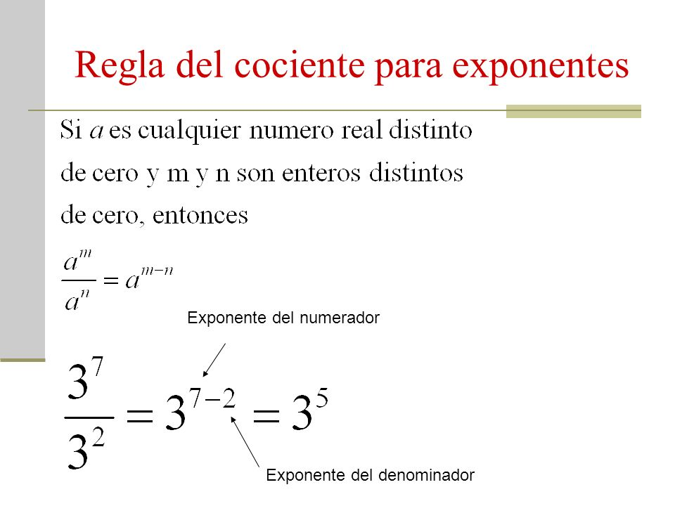 Regla del cociente para exponentes Exponente del numerador Exponente del denominador