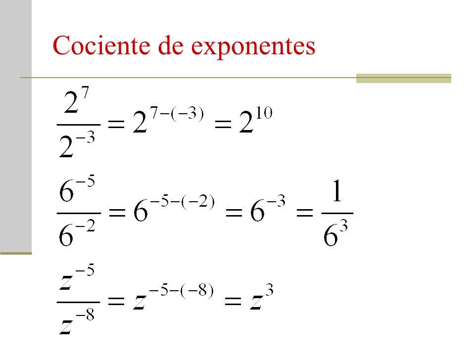 Cociente de exponentes