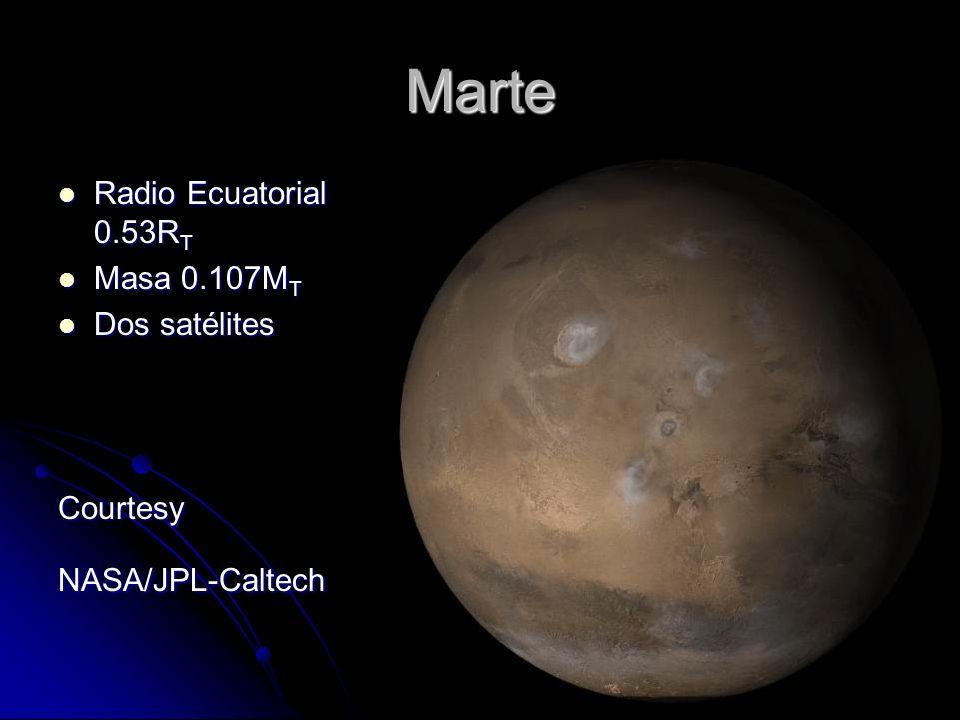Marte Radio Ecuatorial 0.53R T Radio Ecuatorial 0.53R T Masa 0.107M T Masa 0.107M T Dos satélites Dos satélitesCourtesyNASA/JPL-Caltech
