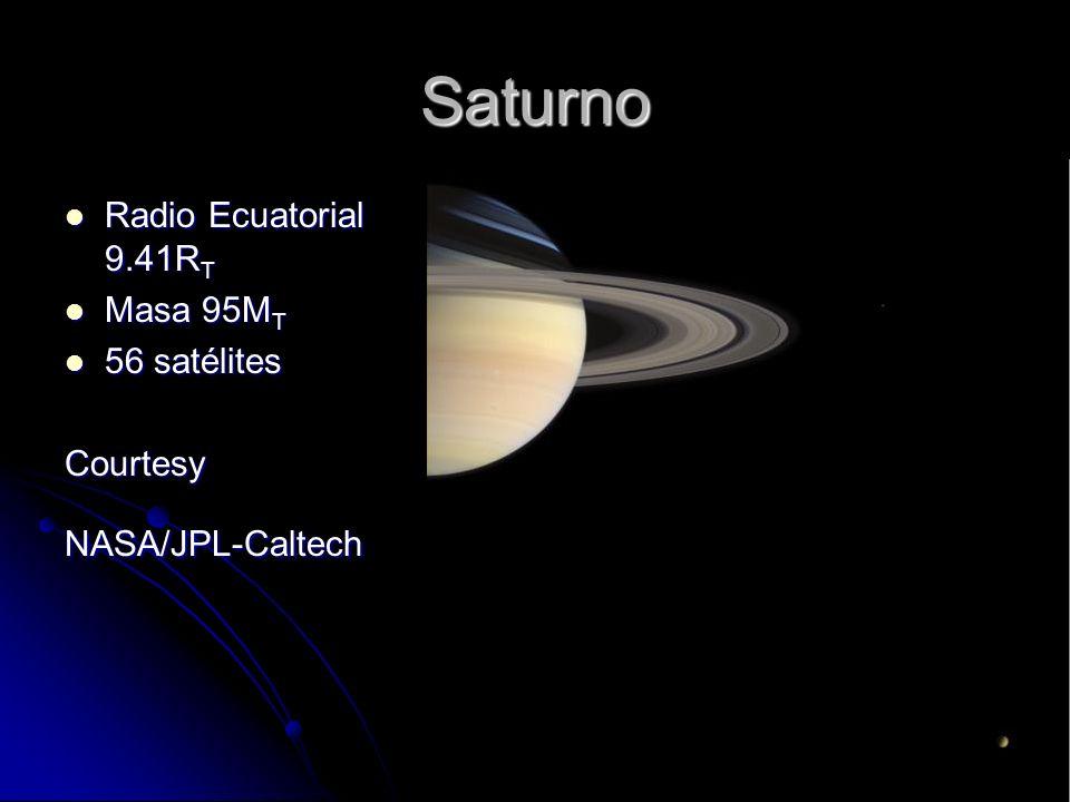 Saturno Radio Ecuatorial 9.41R T Radio Ecuatorial 9.41R T Masa 95M T Masa 95M T 56 satélites 56 satélitesCourtesyNASA/JPL-Caltech