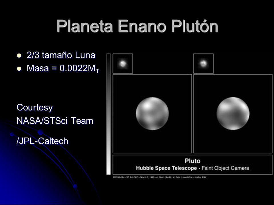 Planeta Enano Plutón 2/3 tamaño Luna 2/3 tamaño Luna Masa = 0.0022M T Masa = 0.0022M TCourtesy NASA/STSci Team /JPL-Caltech