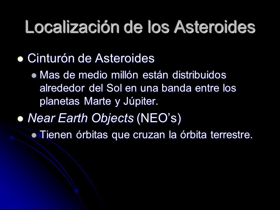 Localización de los Asteroides Cinturón de Asteroides Cinturón de Asteroides Mas de medio millón están distribuidos alrededor del Sol en una banda ent
