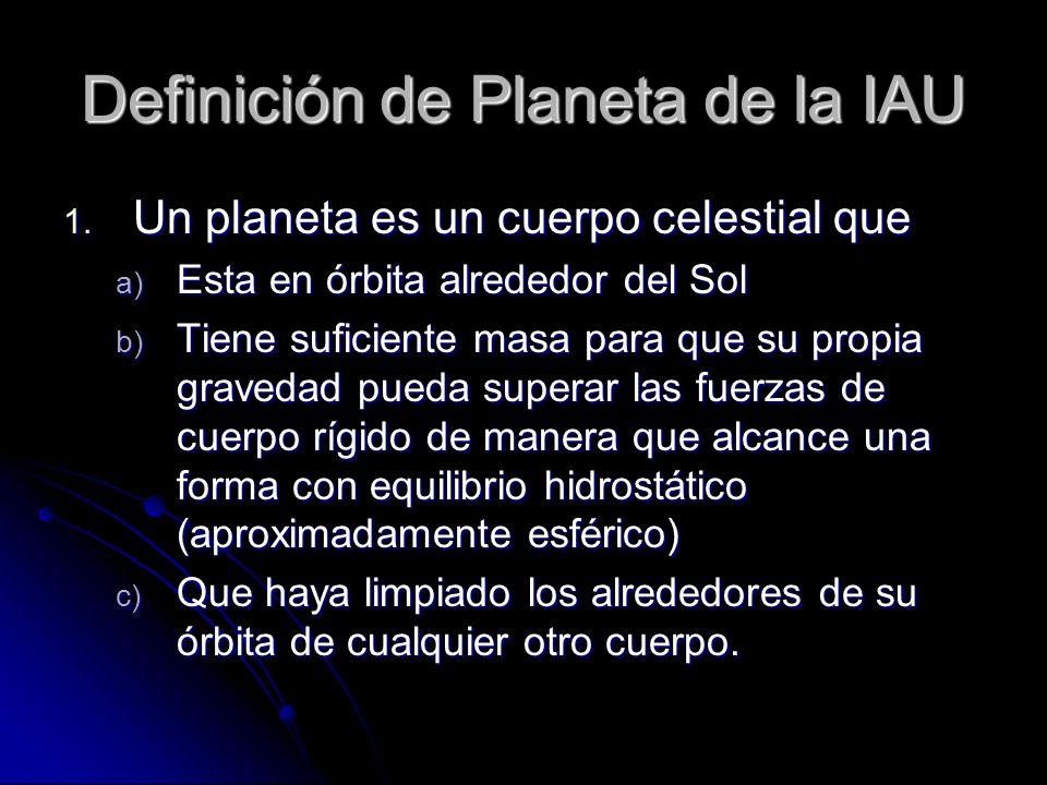 Definición de Planeta de la IAU 1. Un planeta es un cuerpo celestial que a) Esta en órbita alrededor del Sol b) Tiene suficiente masa para que su prop