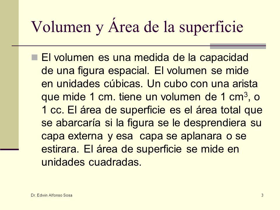 Dr. Edwin Alfonso Sosa 3 Volumen y Área de la superficie El volumen es una medida de la capacidad de una figura espacial. El volumen se mide en unidad