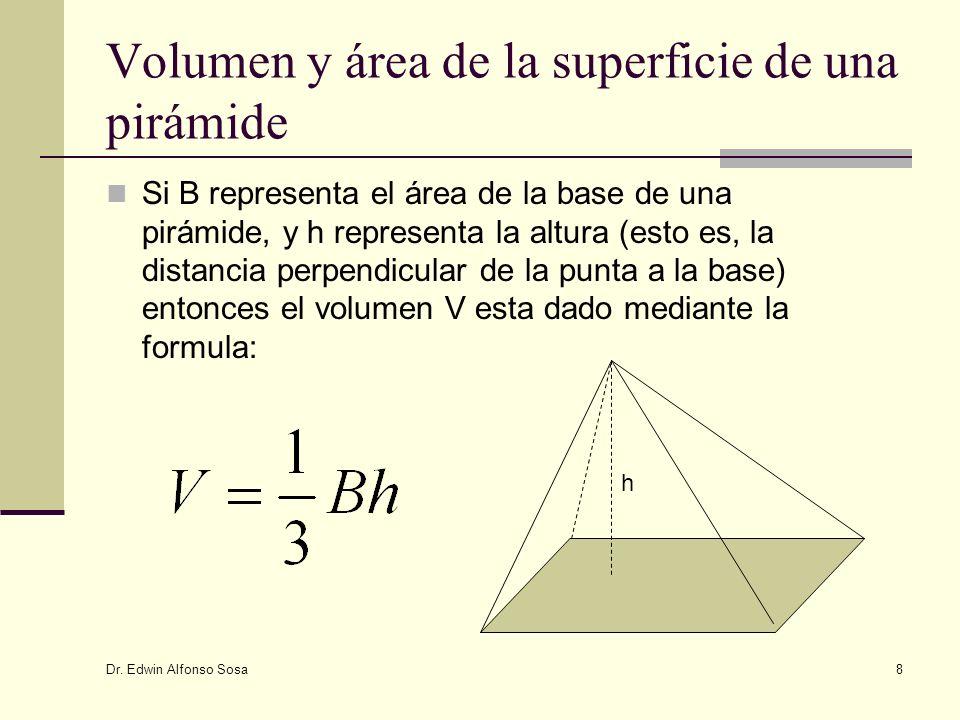 Dr. Edwin Alfonso Sosa 8 Volumen y área de la superficie de una pirámide Si B representa el área de la base de una pirámide, y h representa la altura