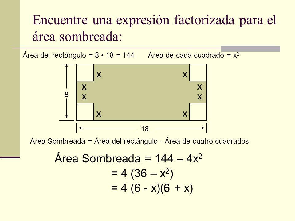 a a b b a2a2 Modelo de Factorización geométrico: Ejemplo 1 - b 2 Área = lado x lado = a x a = a 2 = a- b a + b =(a + b) (a- b)