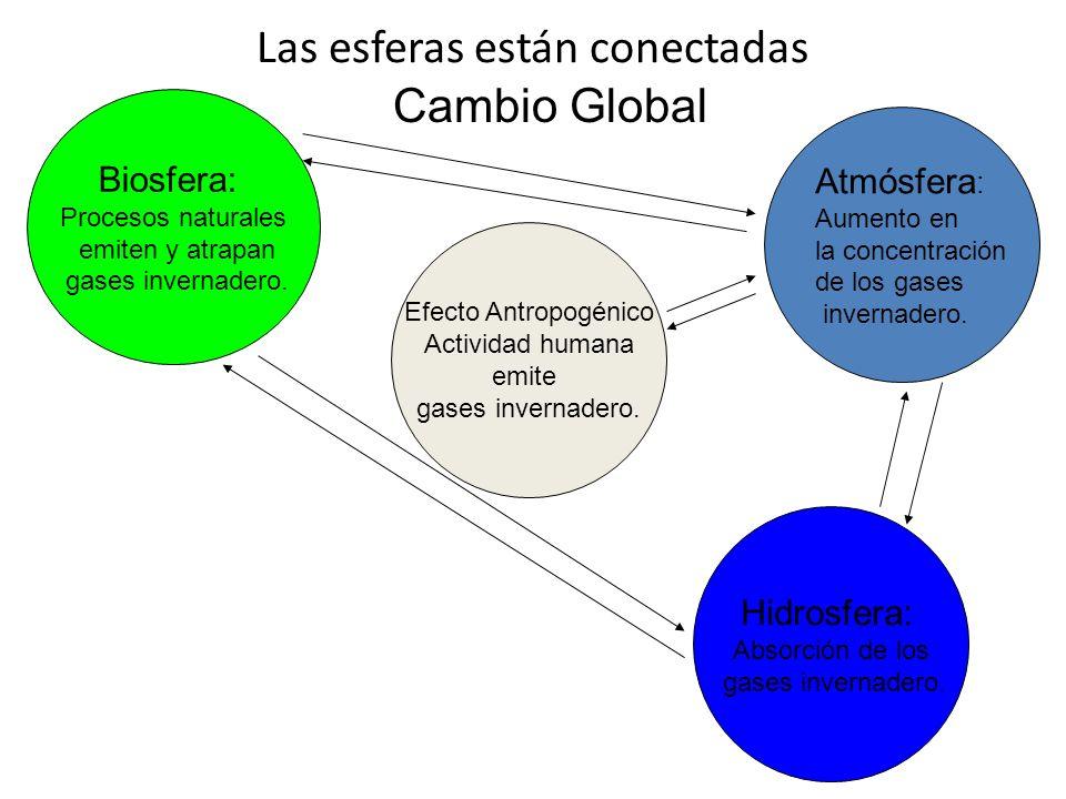 Las esferas están conectadas Biosfera: Procesos naturales emiten y atrapan gases invernadero. Atmósfera : Aumento en la concentración de los gases inv