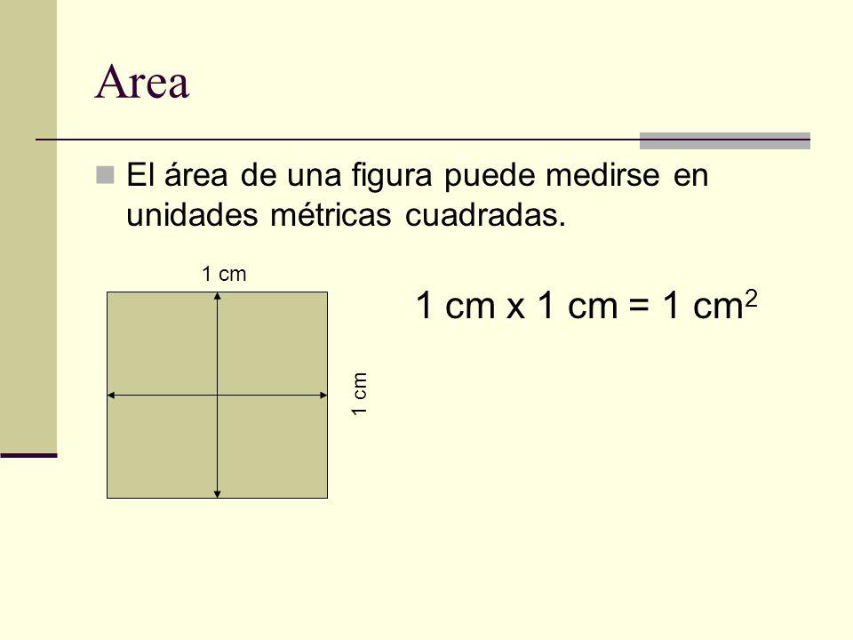 Area El área de una figura puede medirse en unidades métricas cuadradas. 1 cm 1 cm x 1 cm = 1 cm 2