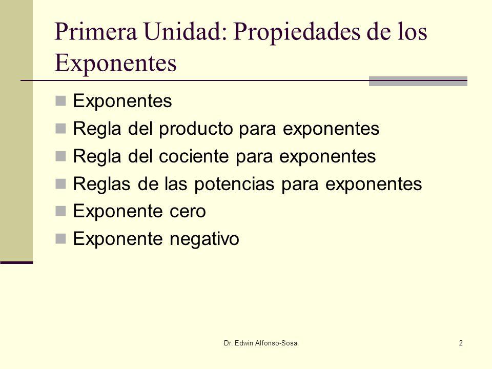 Dr. Edwin Alfonso-Sosa13 Regla especiales para exponentes negativos