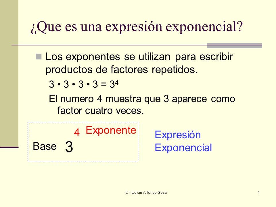 Dr. Edwin Alfonso-Sosa5 Exponentes Ejemplos