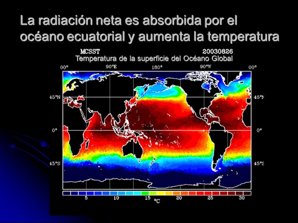 La radiación neta es absorbida por el océano ecuatorial y aumenta la temperatura Temperatura de la superficie del Océano Global
