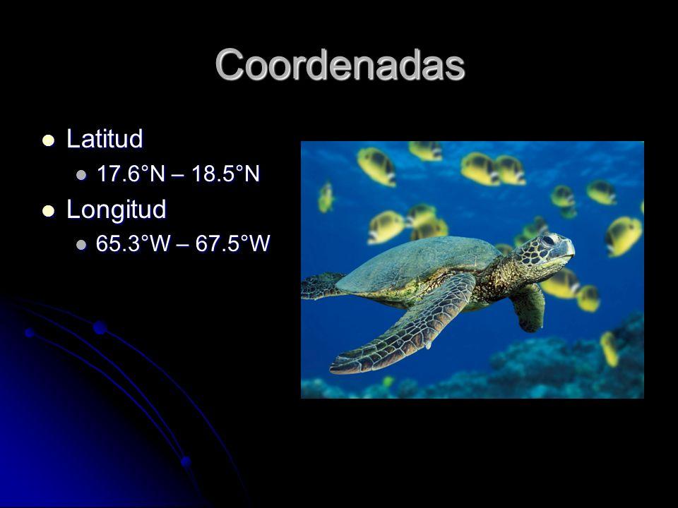 Coordenadas Latitud Latitud 17.6°N – 18.5°N 17.6°N – 18.5°N Longitud Longitud 65.3°W – 67.5°W 65.3°W – 67.5°W