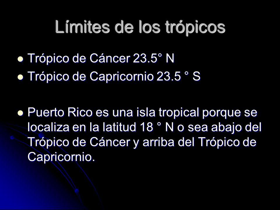 Límites de los trópicos Trópico de Cáncer 23.5° N Trópico de Cáncer 23.5° N Trópico de Capricornio 23.5 ° S Trópico de Capricornio 23.5 ° S Puerto Ric