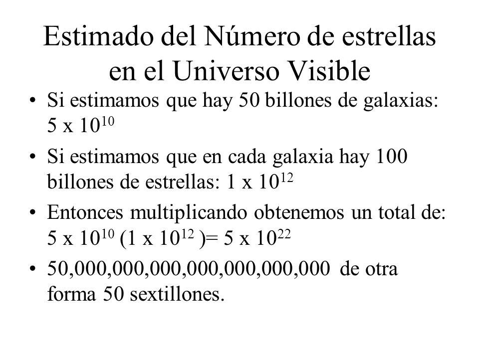 Estimado del Número de estrellas en el Universo Visible Si estimamos que hay 50 billones de galaxias: 5 x 10 10 Si estimamos que en cada galaxia hay 1