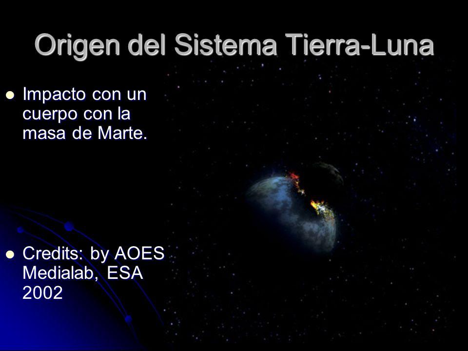 Origen del Sistema Tierra-Luna Impacto con un cuerpo con la masa de Marte. Impacto con un cuerpo con la masa de Marte. Credits: by AOES Medialab, ESA