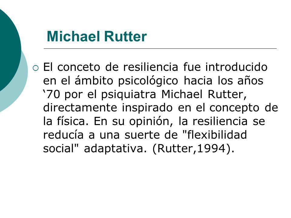 El conceto de resiliencia fue introducido en el ámbito psicológico hacia los años 70 por el psiquiatra Michael Rutter, directamente inspirado en el co