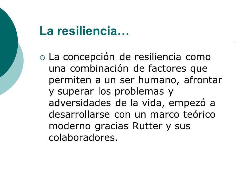 La concepción de resiliencia como una combinación de factores que permiten a un ser humano, afrontar y superar los problemas y adversidades de la vida
