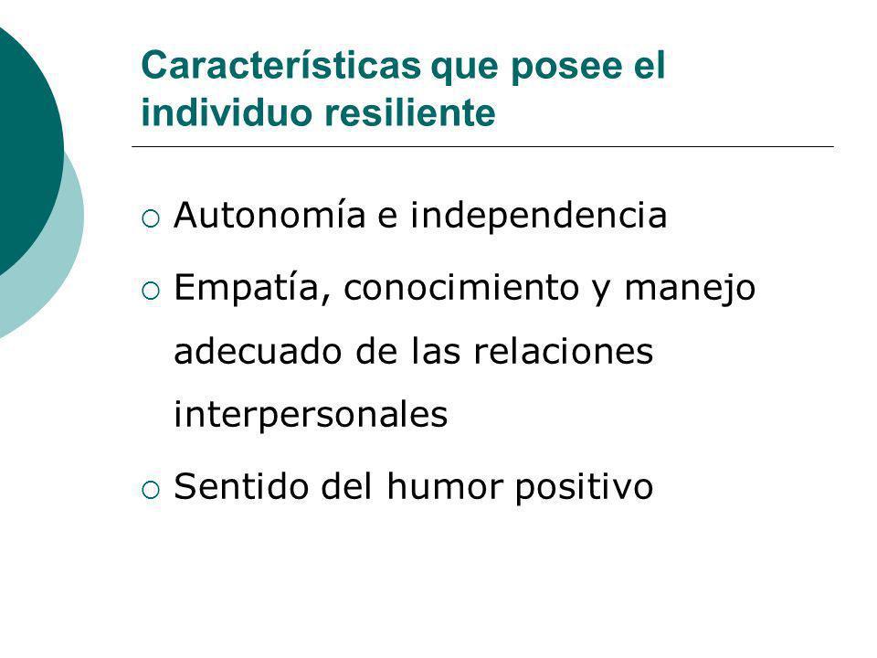 Características que posee el individuo resiliente Autonomía e independencia Empatía, conocimiento y manejo adecuado de las relaciones interpersonales