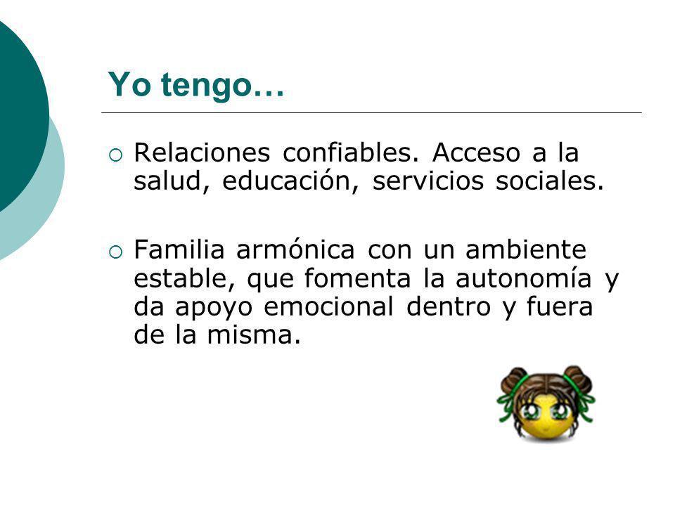 Yo tengo… Relaciones confiables. Acceso a la salud, educación, servicios sociales. Familia armónica con un ambiente estable, que fomenta la autonomía