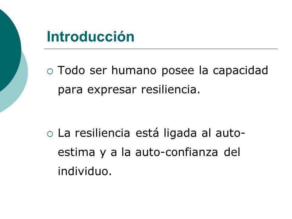 Introducción Todo ser humano posee la capacidad para expresar resiliencia. La resiliencia está ligada al auto- estima y a la auto-confianza del indivi