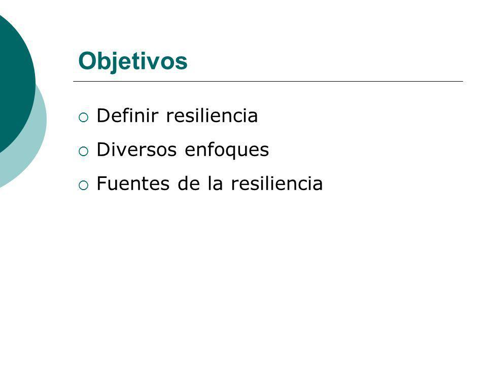 Objetivos Definir resiliencia Diversos enfoques Fuentes de la resiliencia