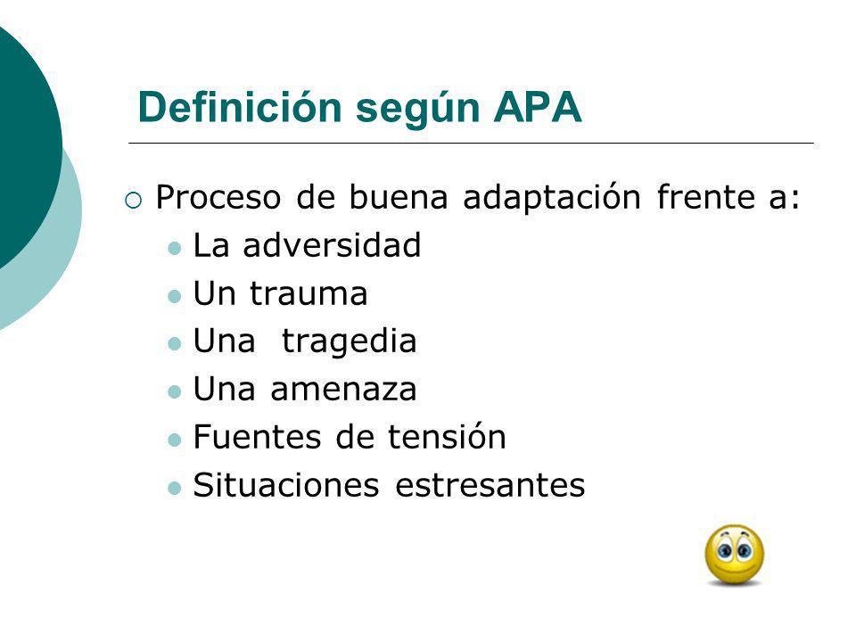 Definición según APA Proceso de buena adaptación frente a: La adversidad Un trauma Una tragedia Una amenaza Fuentes de tensión Situaciones estresantes