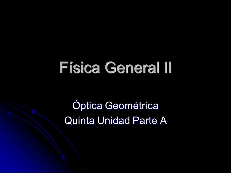 Física General II Óptica Geométrica Quinta Unidad Parte A