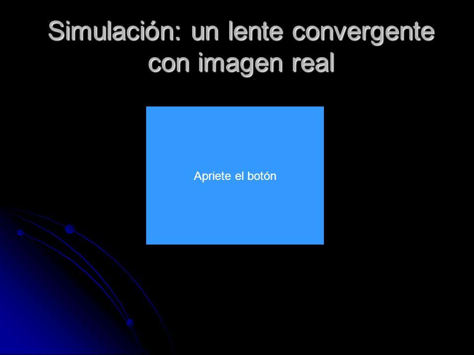 Simulación: un lente convergente con imagen real Apriete el botón