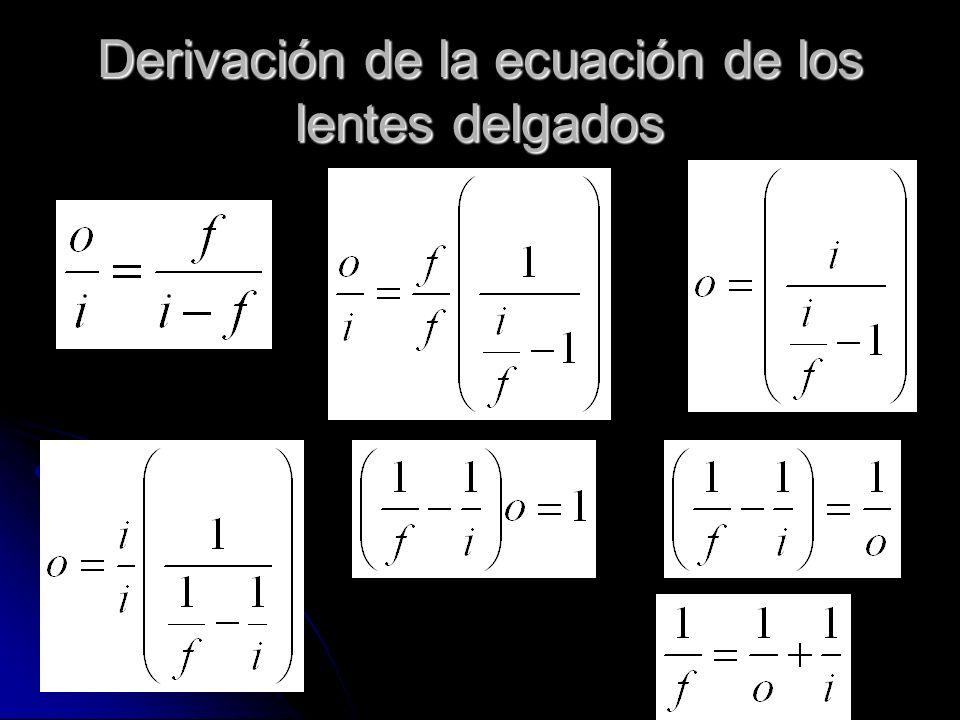 Derivación de la ecuación de los lentes delgados
